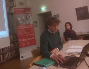 Peter Pawlicki beim JournalistInnen-Workshop am 28.11.2014 in Wien im C3. Foto: ISJE