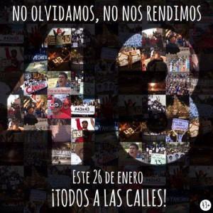 """""""43 - Wir vergessen euch nicht, wir geben euch nicht auf - alle auf die Straßen!"""" - Aufruf zu einer Demonstration. Foto: www.facebook.com/Desinformemonos"""