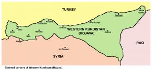 """Rojava als """"Westkurdistan"""", wie es auf einer Website der PYD im Oktober 2013 umrissen wurde. Karte: Creative Commons/Panonian"""