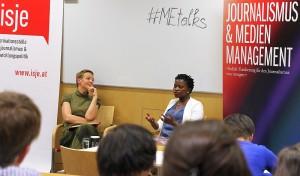 Die Veranstaltungsreihe #MEtalks hatte schon die unterschiedlichsten Gäste aus aller Welt (im Bild: die ugandische Journalistin und Bloggerin Rosebell Kagumire). Im April wird es um Syrien gehen. Foto: Institut für Journalismus & Medienmanagement/FHWien